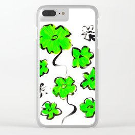 Green Flower Design Clear iPhone Case