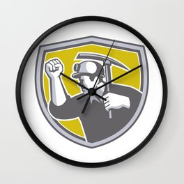 Coal Miner Clenched Fist Pick Axe Shield Retro Wall Clock