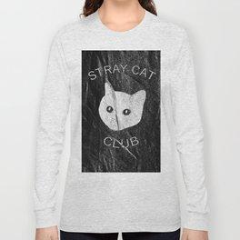 Stray Cat Club Black Background Long Sleeve T-shirt