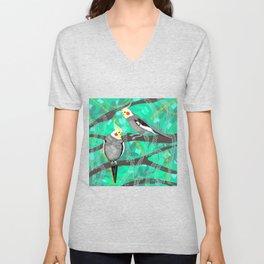 Cockatiels in Green Unisex V-Neck