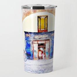 Teramo: bicycles and pharmacy under the arcades Travel Mug
