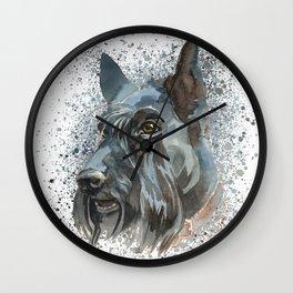 Watercolor Scottish Terrier  Wall Clock