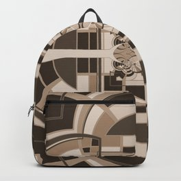 Brown Geometric Abstract Backpack