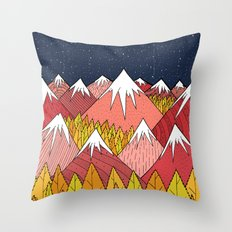 The mountains in the forest Throw Pillow