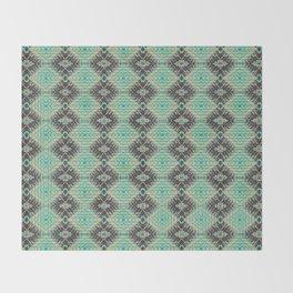 Subway Tracks Kaleidoscope Geometric Pattern - Mint Chocolate Colors Throw Blanket