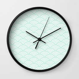 Mint Green Seigaiha Sea Wave Nautical Minimalist Wall Clock