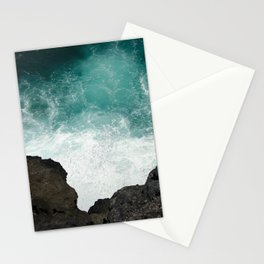 wave breaking against cliff . 1 Stationery Cards
