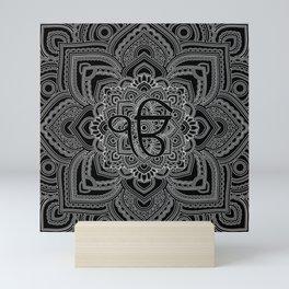 Black and white Ek Onkar / Ik Onkar  in mandala Mini Art Print