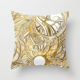 GOLDEN FLORAL PATTERN - BRONZE OR GOLD Throw Pillow
