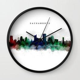 Sacramento Watercolor Skyline Wall Clock