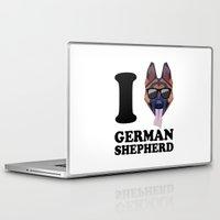 german shepherd Laptop & iPad Skins featuring I Love German Shepherd modern v1 by Vehicle
