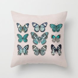 Botanical butterlies - blue ibsect - turquoise butterfly - garderng Throw Pillow