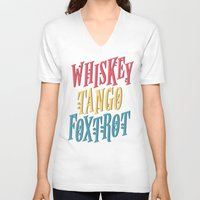 whiskey V-neck T-shirts featuring Whiskey Tango by northside
