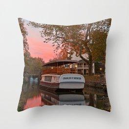 Autumn Twilight Canal Throw Pillow