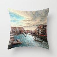 venice Throw Pillows featuring Venice by MehrFarbeimLeben