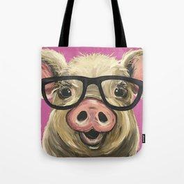 Colorful Pig, Cute Pig Art, Pink Pig Tote Bag