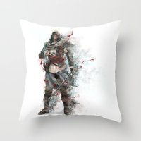 assassins creed Throw Pillows featuring Assassins Creed - Black Flag by alonnusenbaum