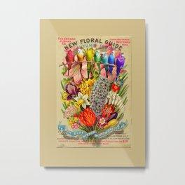 Flowers & Budgies Metal Print