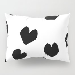 Love Yourself no.2 - black heart pattern love minimal black and white illustration Pillow Sham