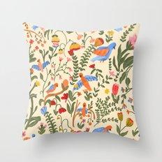 Tropical Garden Pattern Throw Pillow