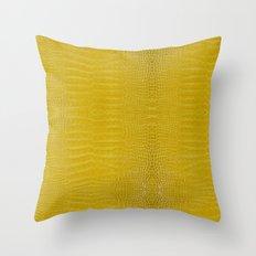 Yellow Alligator Leather Print Throw Pillow