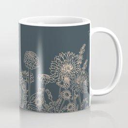 Blush and Slate Blue Line Drawing Botanical Sketch Cottage Flowers Pollinator Garden Spring Easter Decor Coffee Mug