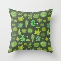 succulents Throw Pillows featuring Succulents by Anna Alekseeva kostolom3000