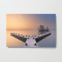 Jetty on a still lake on a foggy winter's morning Metal Print