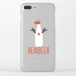 Reinbeer Funny Christmas Gift Santa Hat Antler Clear iPhone Case