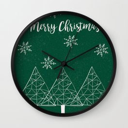 Merry Christmas Green Wall Clock
