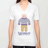 pablo picasso V-neck T-shirts featuring Pablo Picasso by Late Greats by Chen Reichert