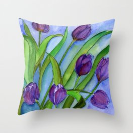 Tulip Flowers Watercolor Painting Artwork Throw Pillow