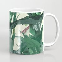 banana leaf Mugs featuring Banana Leaf Pattern 2 by Tamsin Lucie