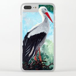 Animal - The beautiful stork - by LiliFlore Clear iPhone Case