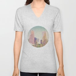 Downtown Houston Panorama Unisex V-Neck