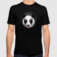 Kiss of a panda Mens Fitted Tee Black MEDIUM