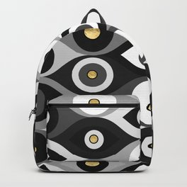Evil Eye protection pattern grayscale and gold Backpack