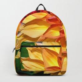 Orange yellow flower Dahlia Backpack