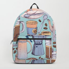 Coffee Love on Blue Backpack