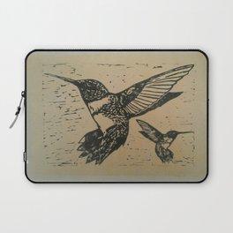 Humming birds lino print Laptop Sleeve