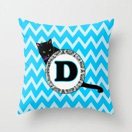 Letter D Cat Monogram Throw Pillow