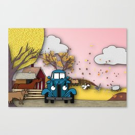 Blue truck and friends Canvas Print