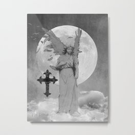 Angel Lady Woman Cross Moon Devotion Black White Gothic Art A625 Metal Print