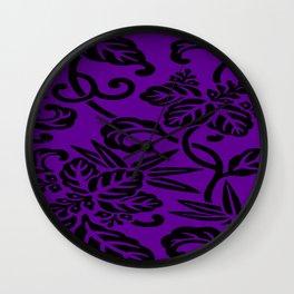 Purple Japanese Leaf Pattern Wall Clock