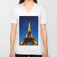eiffel V-neck T-shirts featuring Eiffel by Heather Hartley