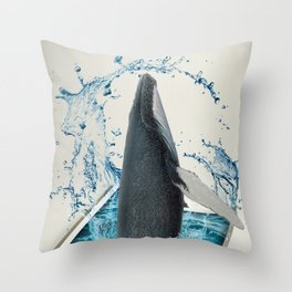 Dancing Whale Throw Pillow