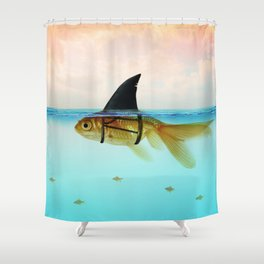 goldfish with a shark fin Shower Curtain