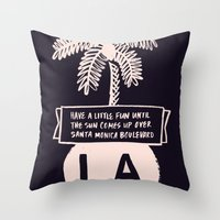 los angeles Throw Pillows featuring Los Angeles by T-Shirt Business