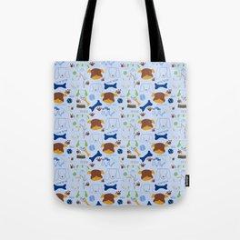 Good Doggie Hand-Drawn Cartoon Baby Blue Dog Print Tote Bag