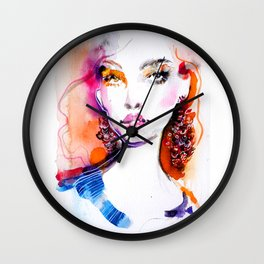 Bright colors beauty fashion illustration Wall Clock